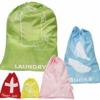 5 Piece Set Travel Luggage Organizer Drawstring Clothing Laundry Ditty Bag Pouches