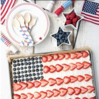 Easy 4th of July Dessert Pizza makes an American Flag