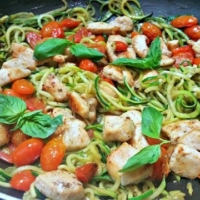 Zucchini Noodles with Chicken, Roasted Tomatoes & Pesto