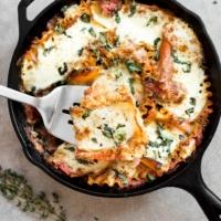 Healthy Caprese Skillet Lasagna