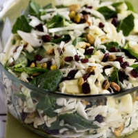 Cabbage, Apple, and Kale Salad with Cranberries and Pistachios
