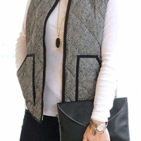Fall Quilted Herringbone Puffer Vest with Zipper