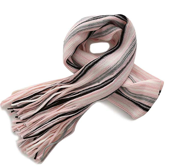 Fancy Stitch Women's Winter Multiple-Color Rib-Striped Knitted Wool Scarf