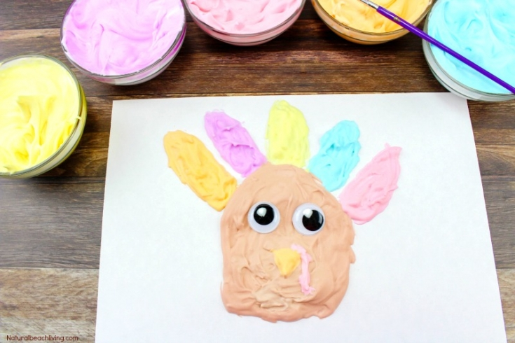 Easy Thanksgiving Crafts Kids Love to Make - Puffy Paint Turkeys
