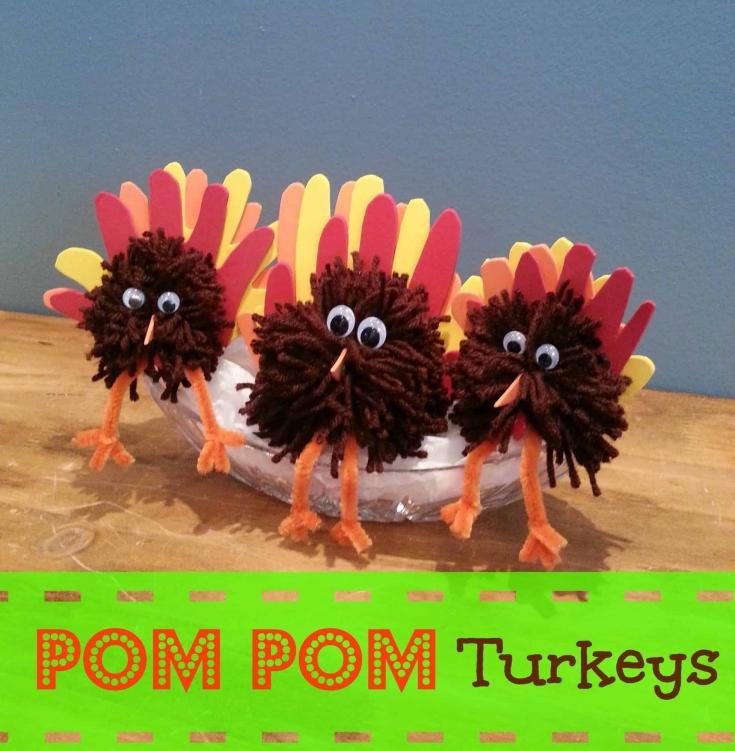 Pom Pom Turkey Centerpiece for Thanksgiving