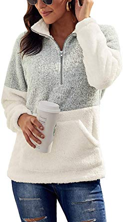 Women's Cozy Oversize Fluffy Fleece Sweatshirt Pullover