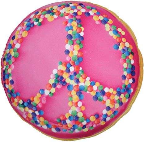 Peace Sprinkles Bi-Color Donut Shaped Microbead Pillow