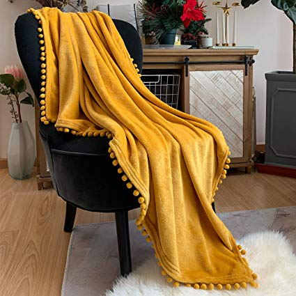Flannel Blanket with Pompom Fringe Lightweight Cozy Soft Throw Blanket