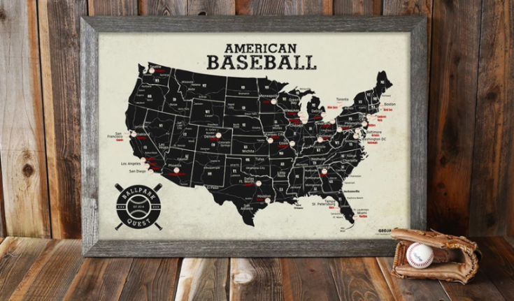 Baseball Stadium Map Poster