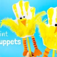 Handprint Chick Puppets