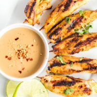 Grilled Chicken Satay Skewers (with Peanut Sauce)