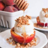 Grilled Peach Crisp Sundaes with Cinnamon-Honey Drizzle
